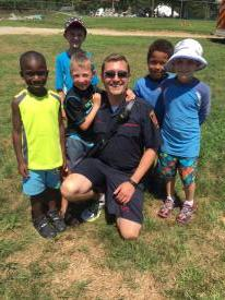 Assistant Chief Matt Miles with some campers